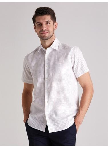 Dufy Nokta Desenlı Kisa Kol Erkek Gömlek - Slim Fit Beyaz